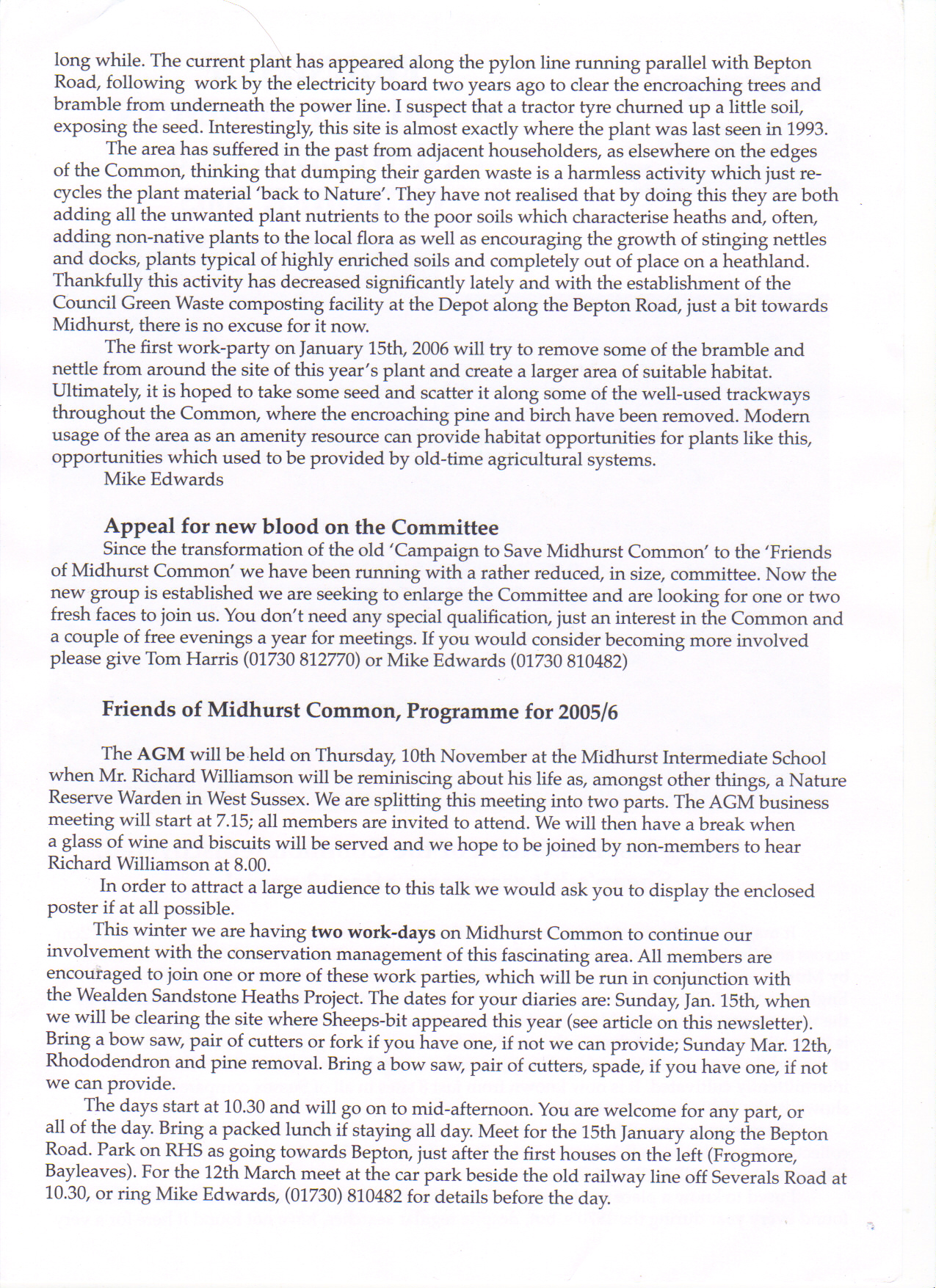Newsletter no 8 part 2 of 2 October 2005