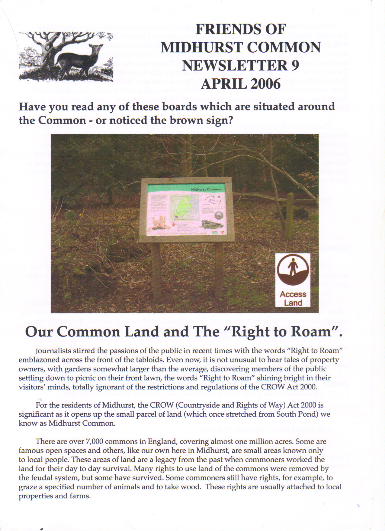 Newsletter no 9 part 1 of 2 April 2006 - Our right to roam